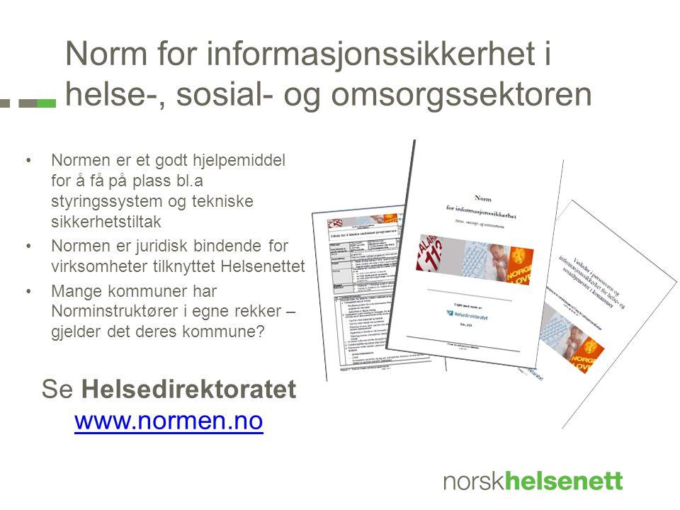 Norm for informasjonssikkerhet i helse-, sosial- og omsorgssektoren