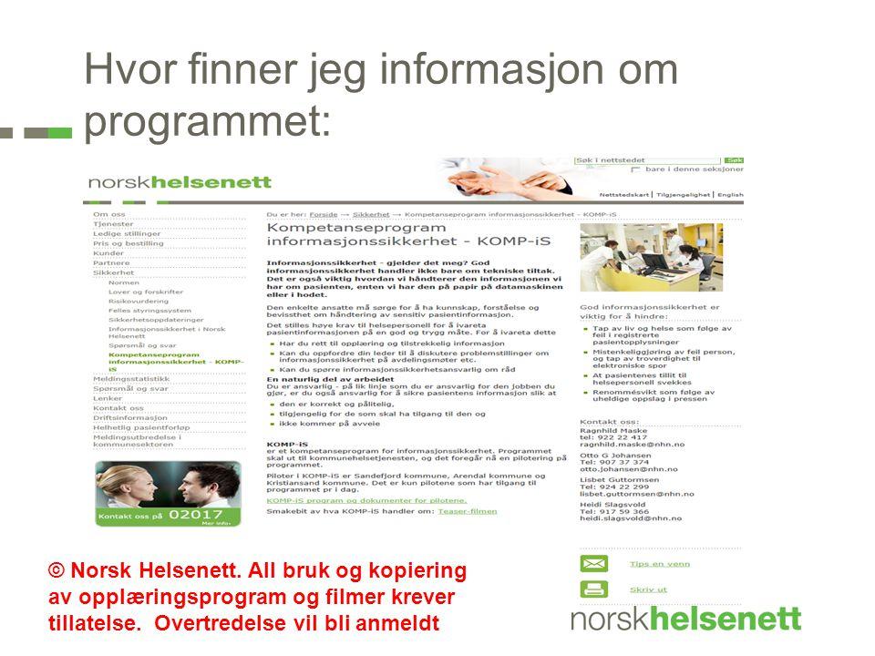 Hvor finner jeg informasjon om programmet: