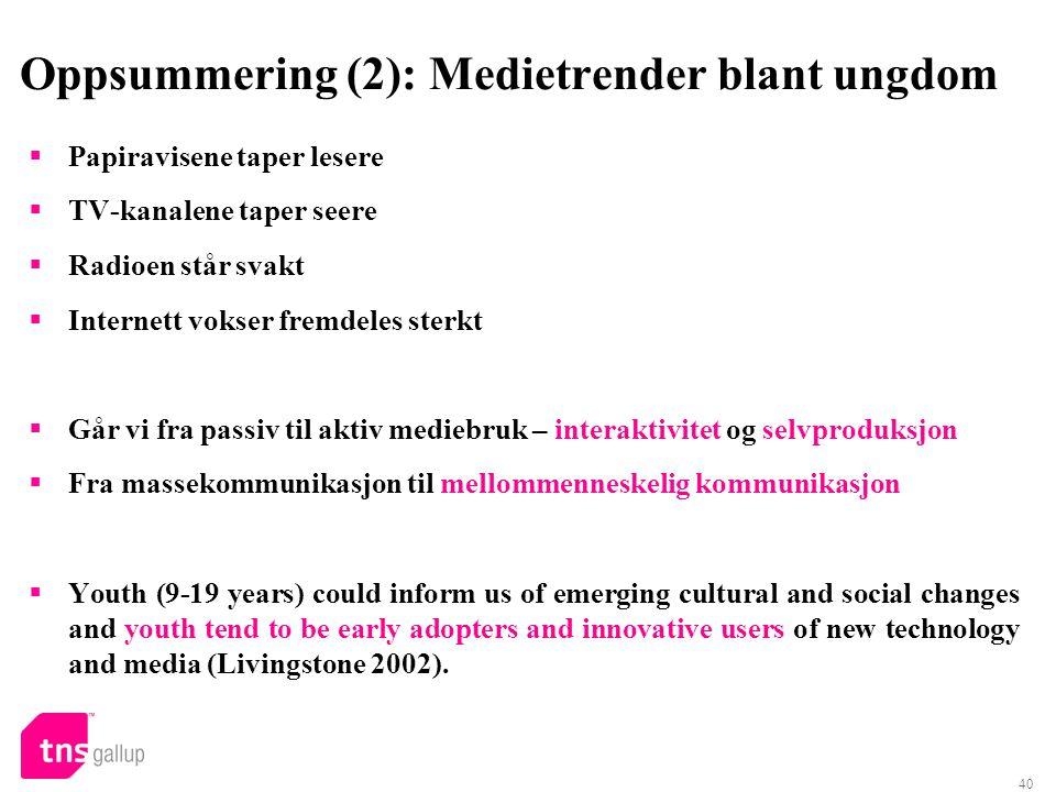 Oppsummering (2): Medietrender blant ungdom