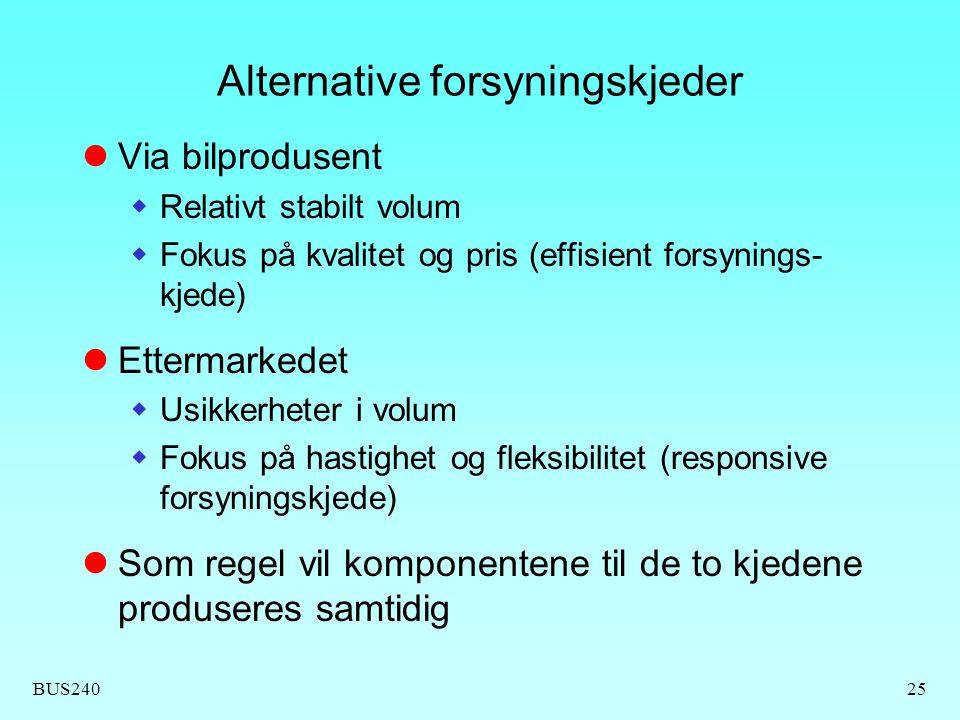 Alternative forsyningskjeder