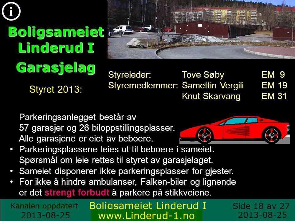 Boligsameiet Linderud I Garasjelag Styret 2013: