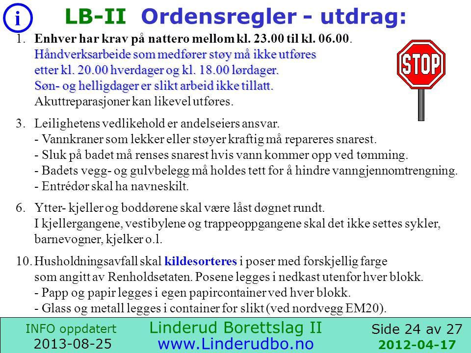 LB-II Ordensregler - utdrag: