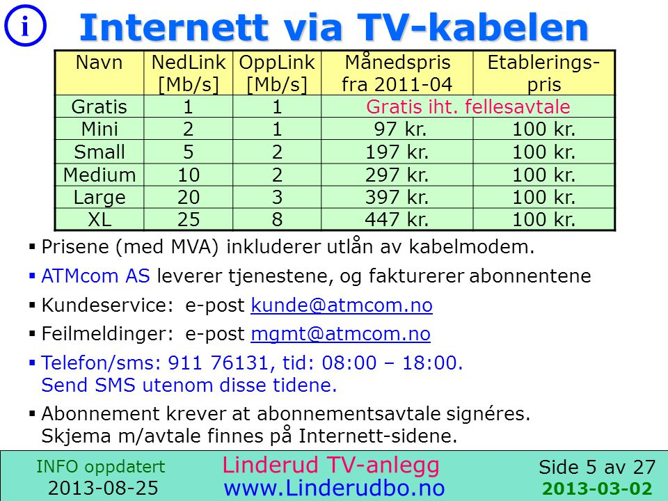 Internett via TV-kabelen