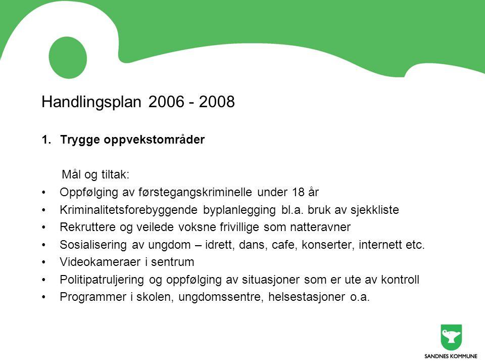 Handlingsplan 2006 - 2008 Trygge oppvekstområder Mål og tiltak: