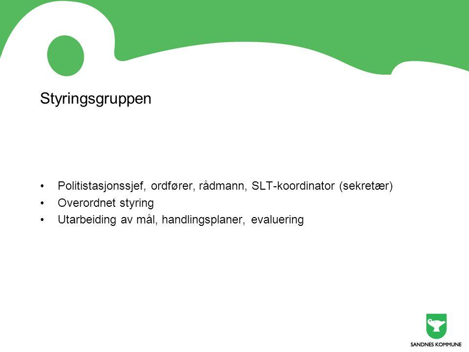 Styringsgruppen Politistasjonssjef, ordfører, rådmann, SLT-koordinator (sekretær) Overordnet styring.