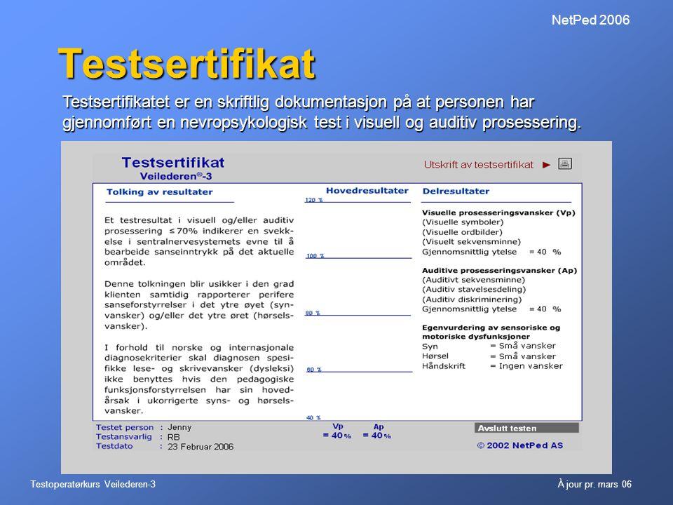 NetPed 2006 Testsertifikat.