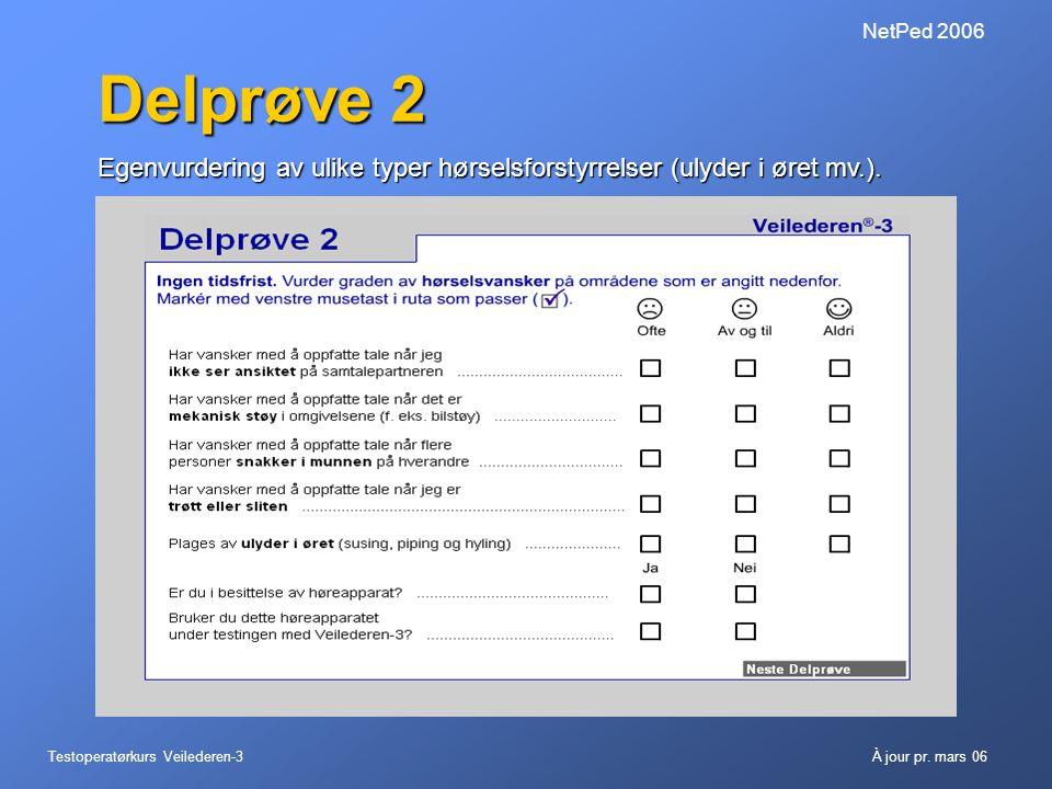 NetPed 2006 Delprøve 2. Egenvurdering av ulike typer hørselsforstyrrelser (ulyder i øret mv.).