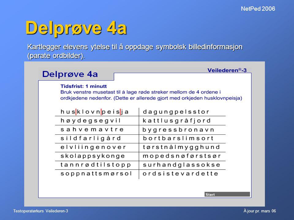 NetPed 2006 Delprøve 4a. Kartlegger elevens ytelse til å oppdage symbolsk billedinformasjon (parate ordbilder).