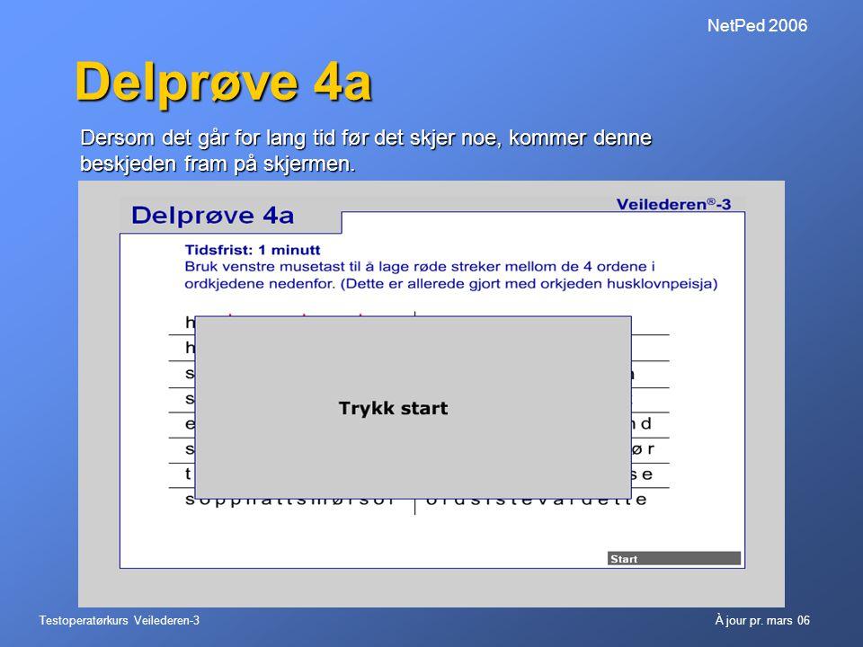 NetPed 2006 Delprøve 4a. Dersom det går for lang tid før det skjer noe, kommer denne beskjeden fram på skjermen.