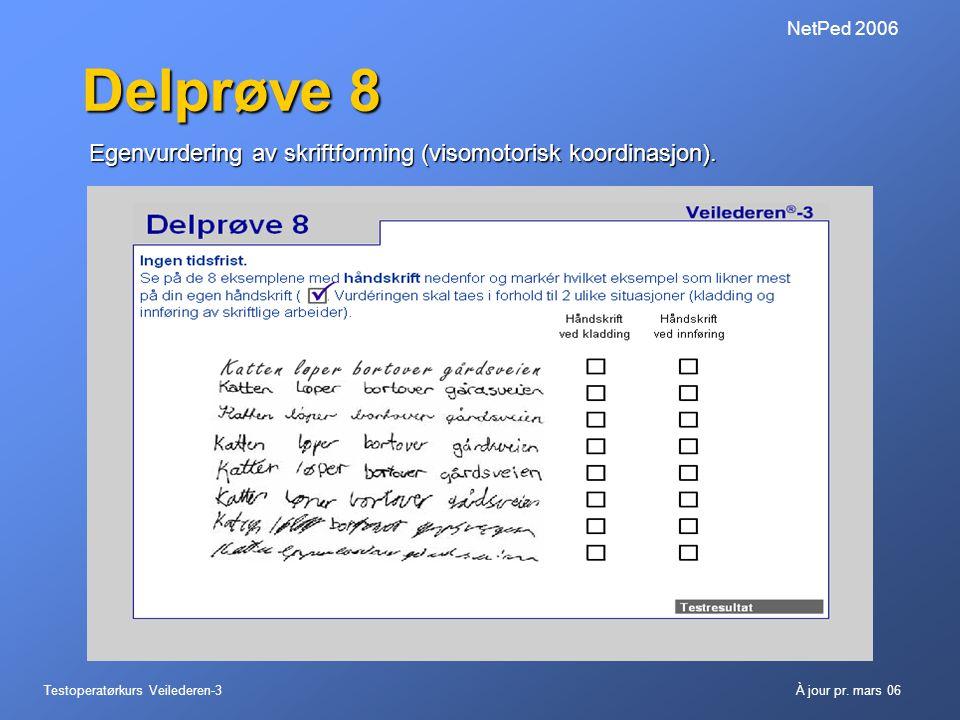 Delprøve 8 Egenvurdering av skriftforming (visomotorisk koordinasjon).