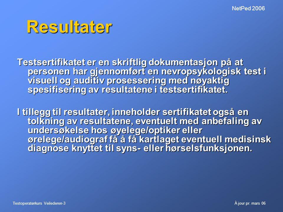 NetPed 2006 Resultater.