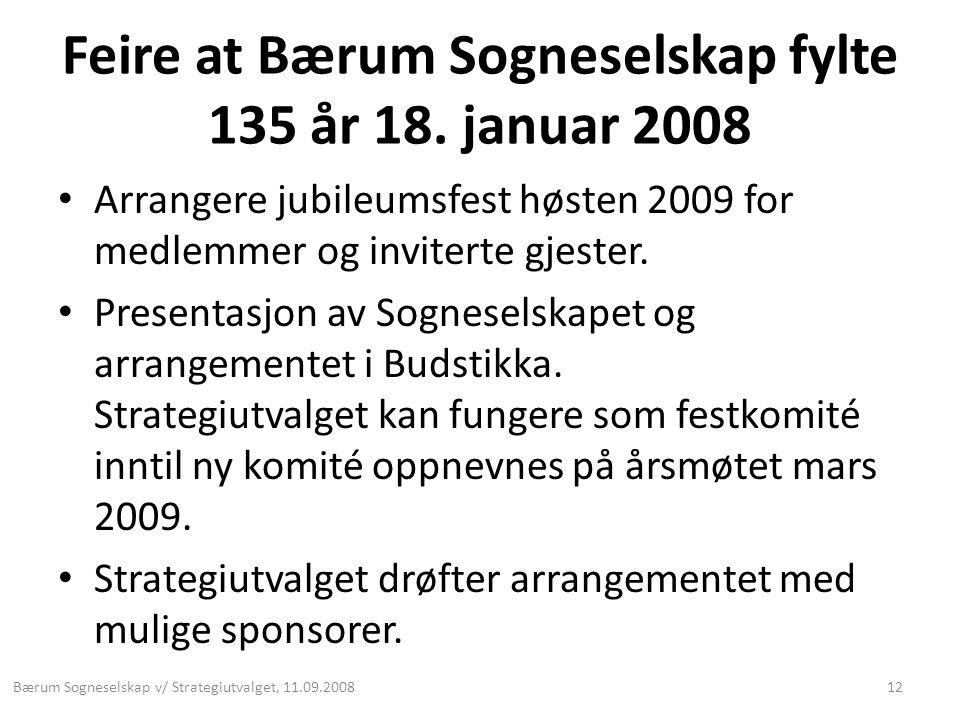 Feire at Bærum Sogneselskap fylte 135 år 18. januar 2008