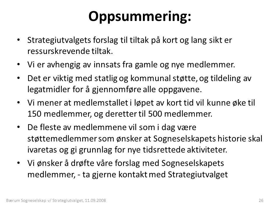 Bærum Sogneselskap v/ Strategiutvalget,