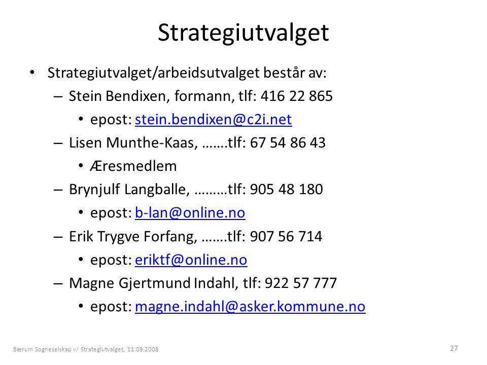 Strategiutvalget Strategiutvalget/arbeidsutvalget består av:
