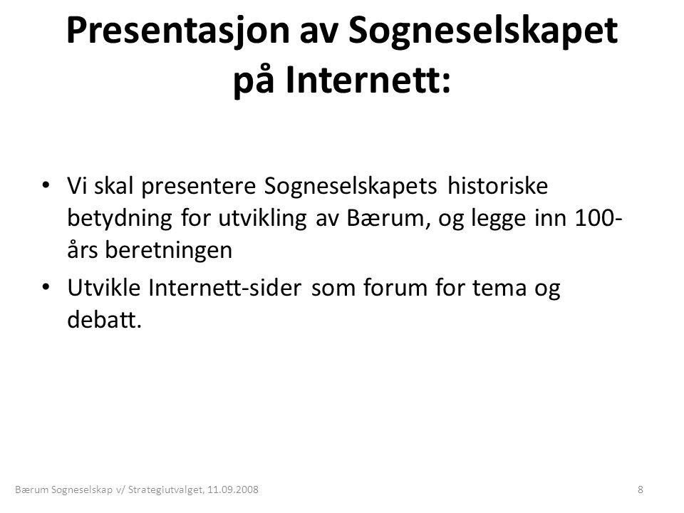 Presentasjon av Sogneselskapet på Internett: