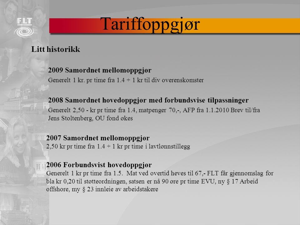 Tariffoppgjør Litt historikk 2009 Samordnet mellomoppgjør