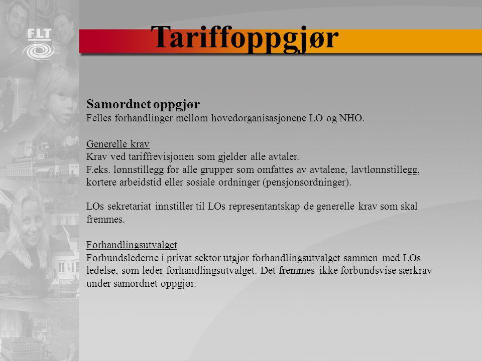 Tariffoppgjør Samordnet oppgjør Felles forhandlinger mellom hovedorganisasjonene LO og NHO.
