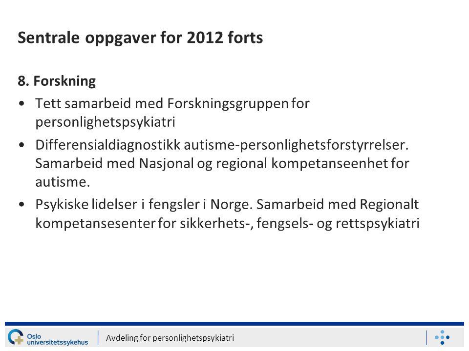 Sentrale oppgaver for 2012 forts