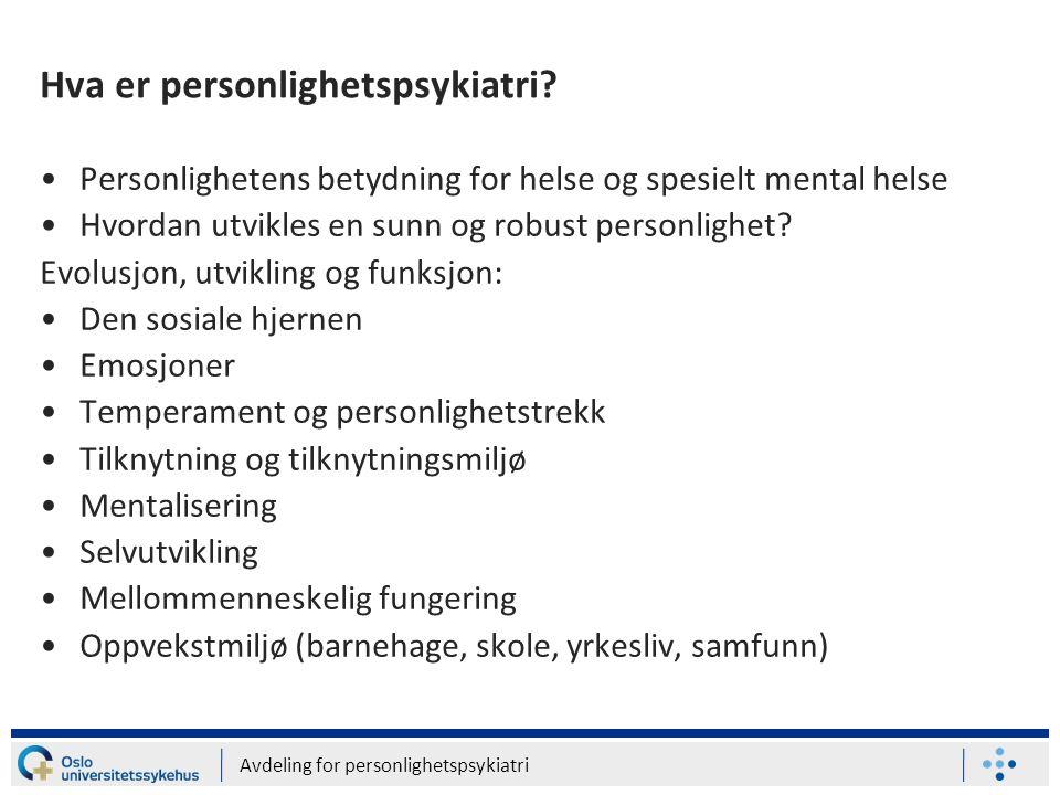 Hva er personlighetspsykiatri