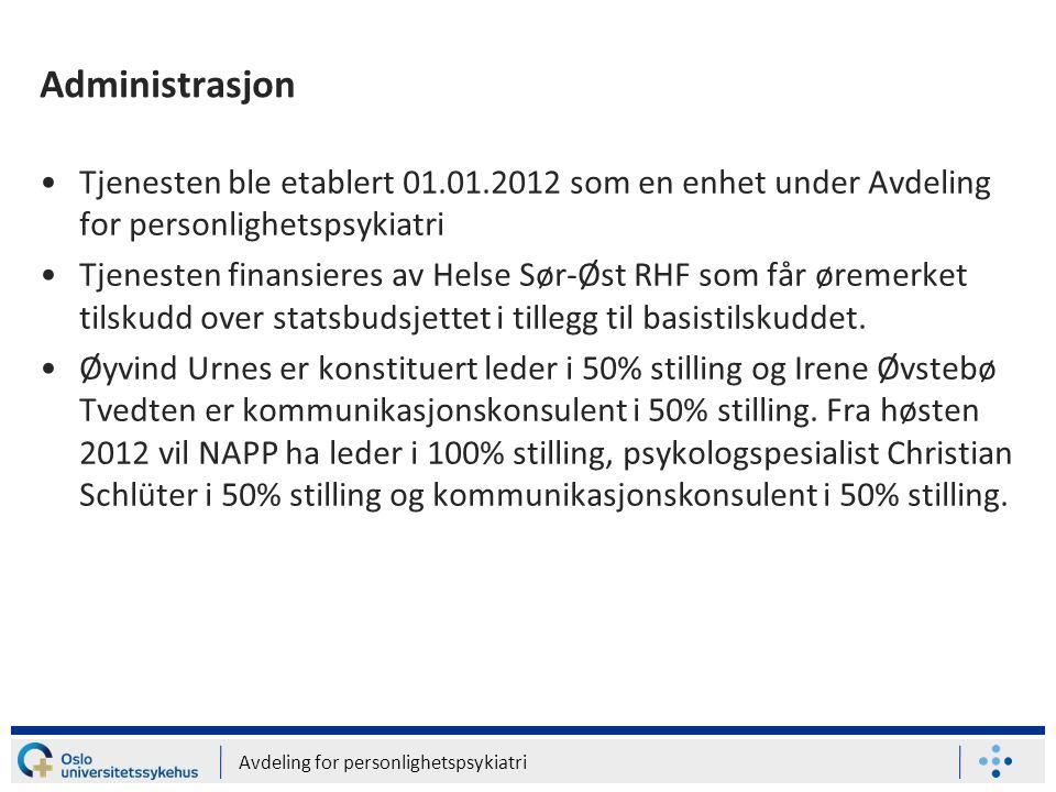 Administrasjon Tjenesten ble etablert 01.01.2012 som en enhet under Avdeling for personlighetspsykiatri.
