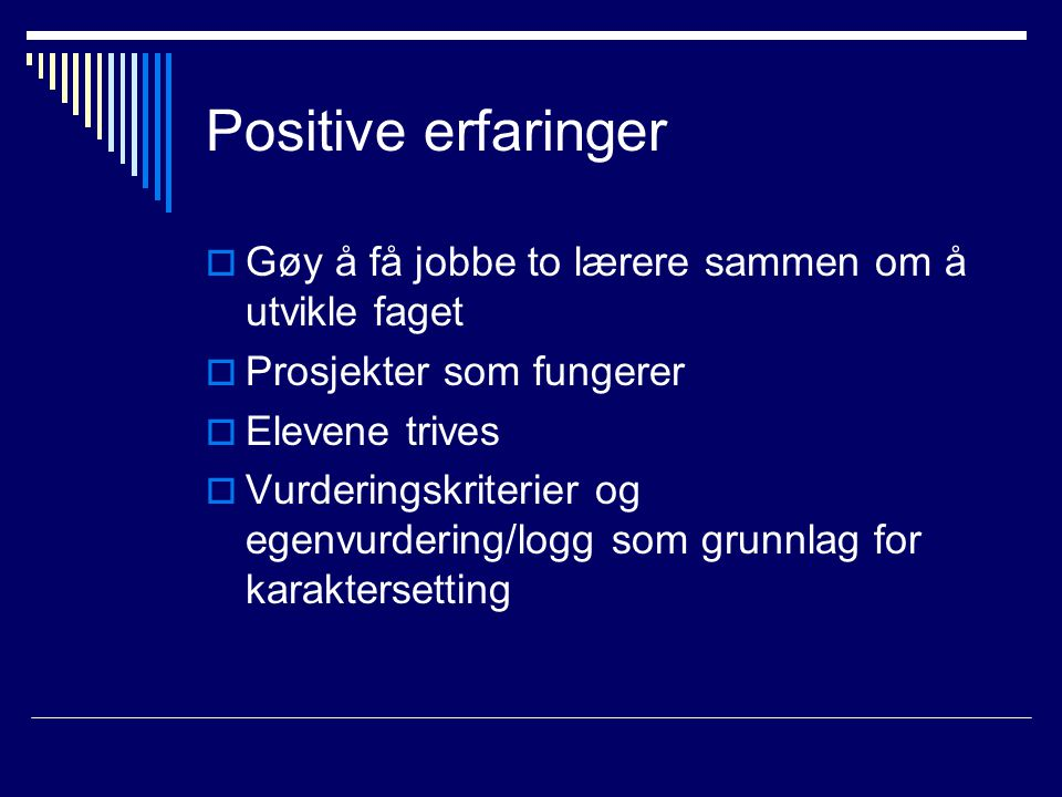 Positive erfaringer Gøy å få jobbe to lærere sammen om å utvikle faget