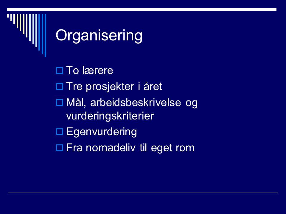 Organisering To lærere Tre prosjekter i året