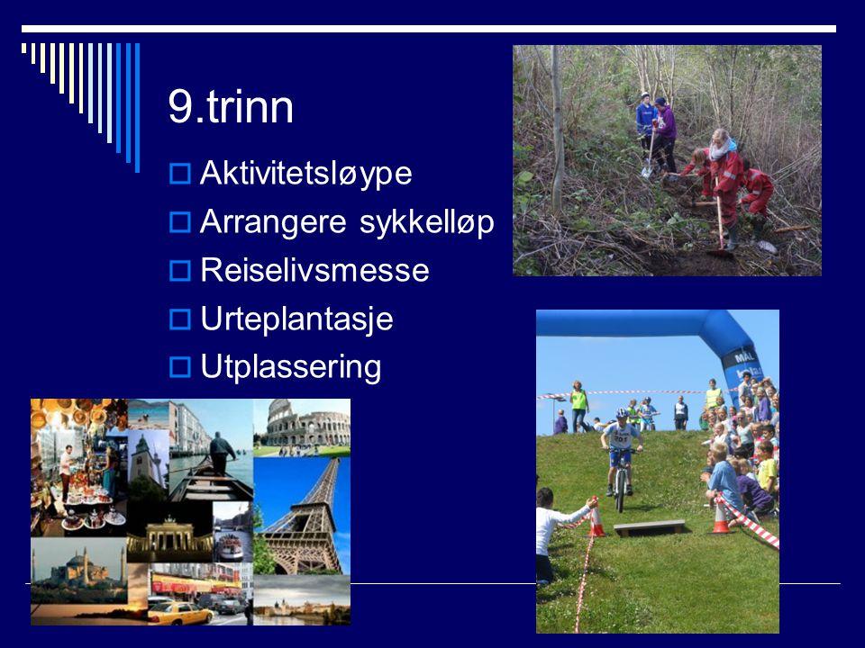 9.trinn Aktivitetsløype Arrangere sykkelløp Reiselivsmesse