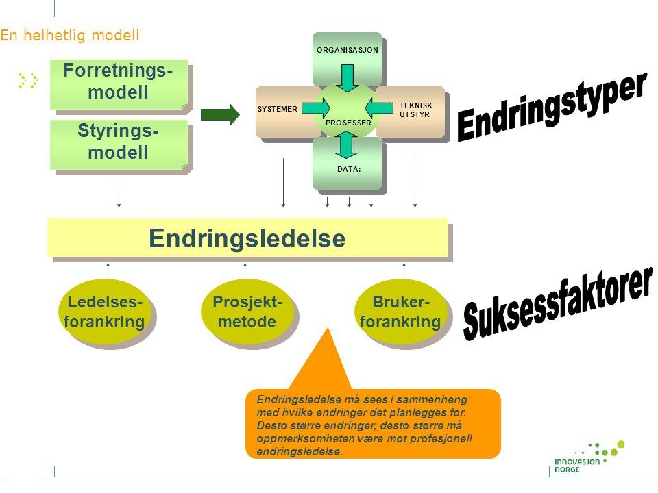 Endringstyper Suksessfaktorer Endringsledelse Forretnings- modell