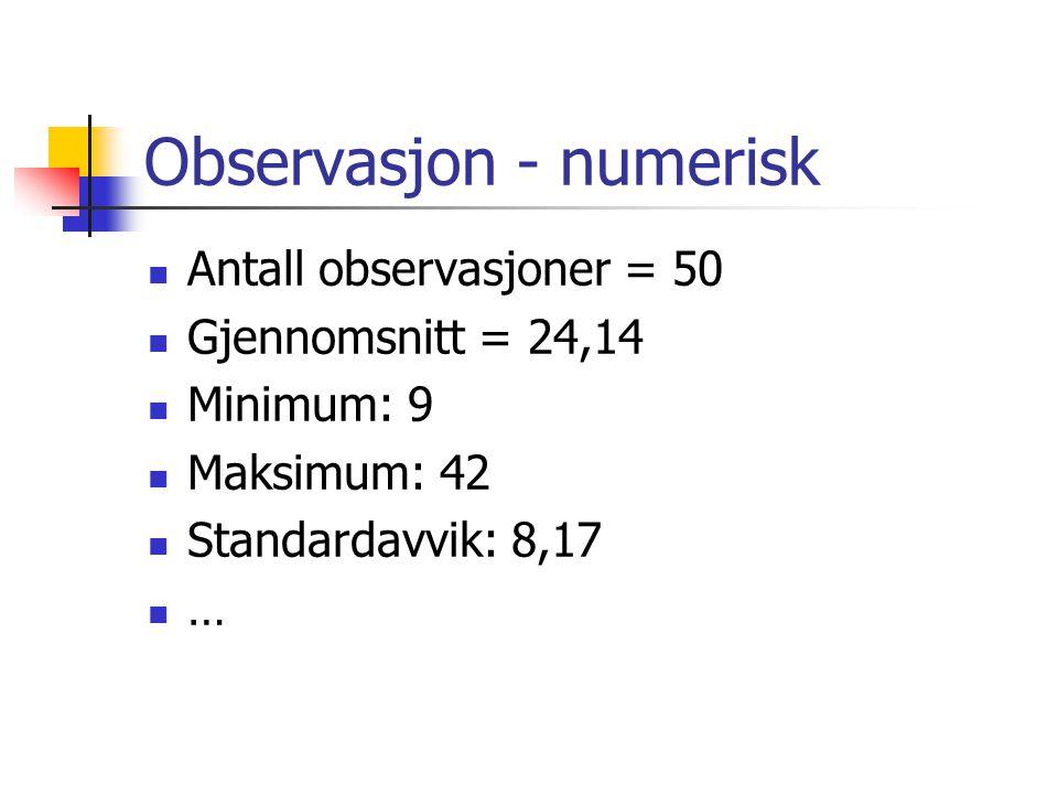 Observasjon - numerisk