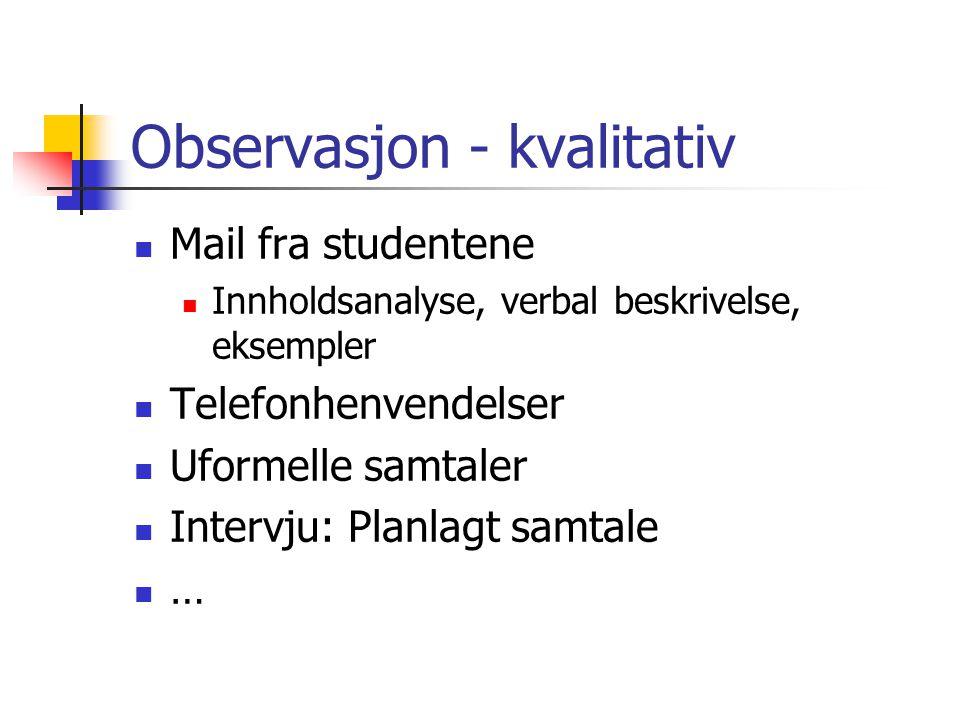 Observasjon - kvalitativ