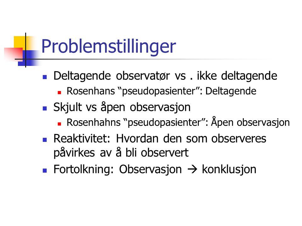 Problemstillinger Deltagende observatør vs . ikke deltagende