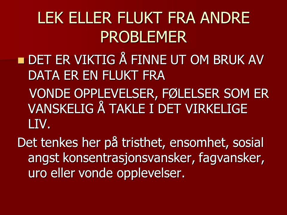 LEK ELLER FLUKT FRA ANDRE PROBLEMER