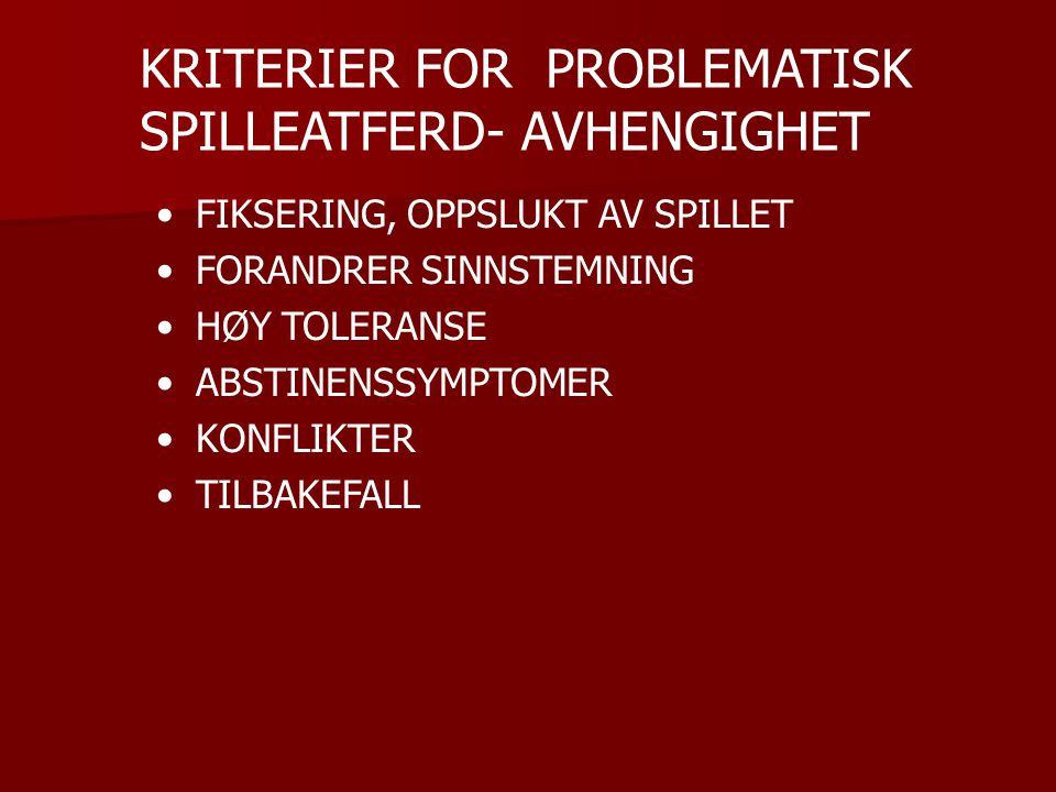 KRITERIER FOR PROBLEMATISK SPILLEATFERD- AVHENGIGHET