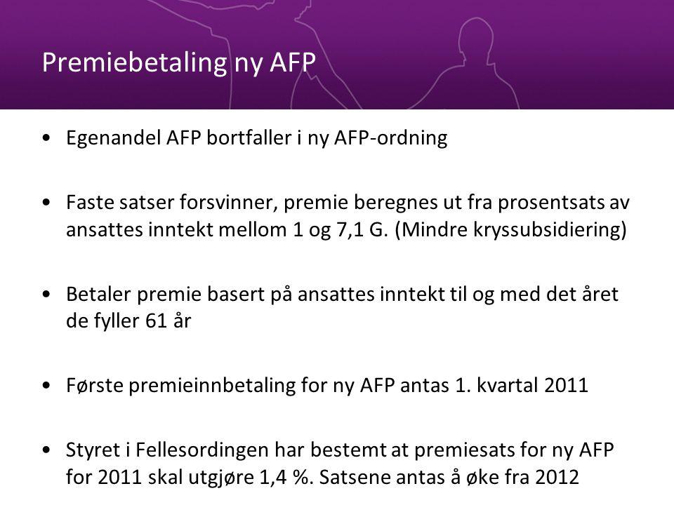 Premiebetaling ny AFP Egenandel AFP bortfaller i ny AFP-ordning