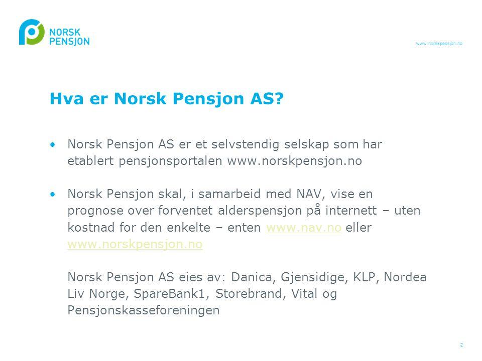 Hva er Norsk Pensjon AS Norsk Pensjon AS er et selvstendig selskap som har etablert pensjonsportalen www.norskpensjon.no.