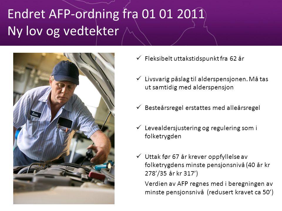 Endret AFP-ordning fra 01 01 2011 Ny lov og vedtekter