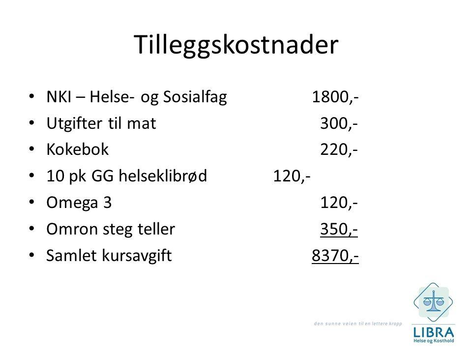 Tilleggskostnader NKI – Helse- og Sosialfag 1800,-