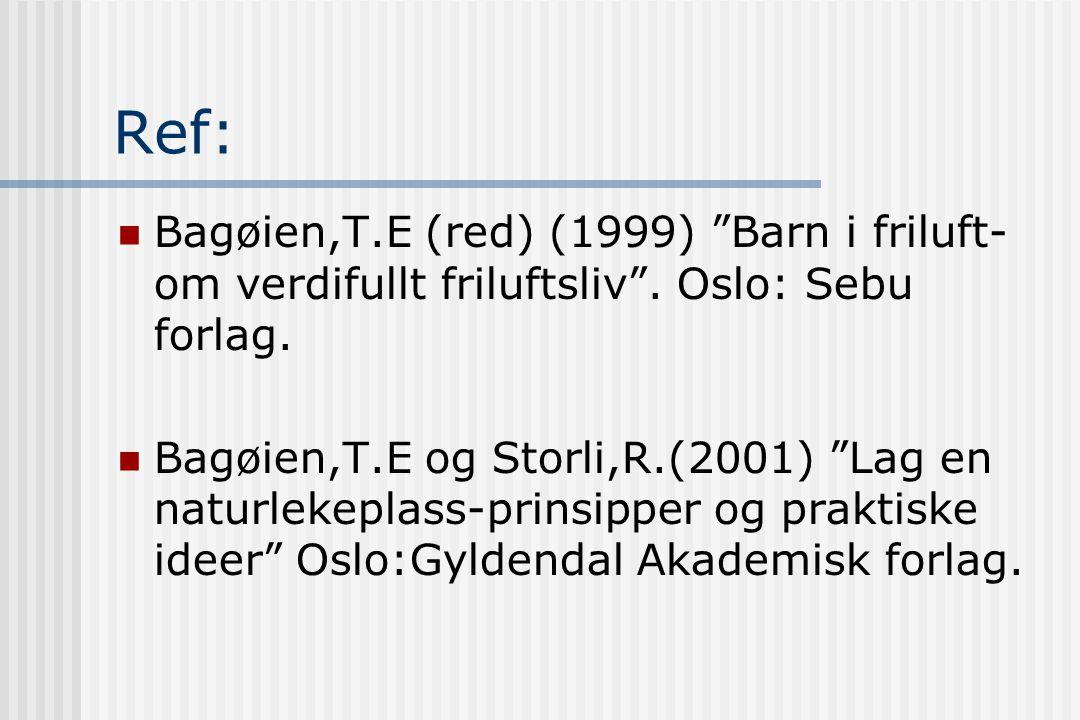 Ref: Bagøien,T.E (red) (1999) Barn i friluft-om verdifullt friluftsliv . Oslo: Sebu forlag.