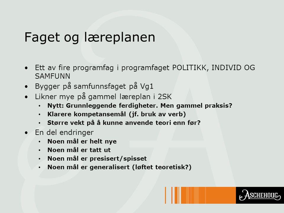 Faget og læreplanen Ett av fire programfag i programfaget POLITIKK, INDIVID OG SAMFUNN. Bygger på samfunnsfaget på Vg1.