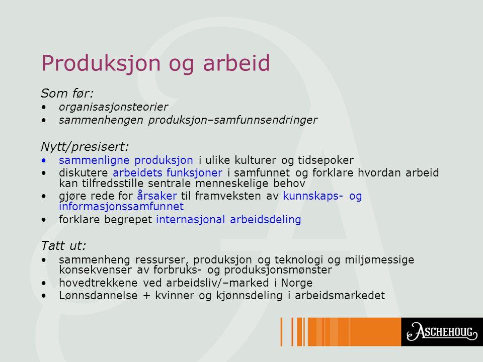 Produksjon og arbeid Som før: Nytt/presisert: Tatt ut: