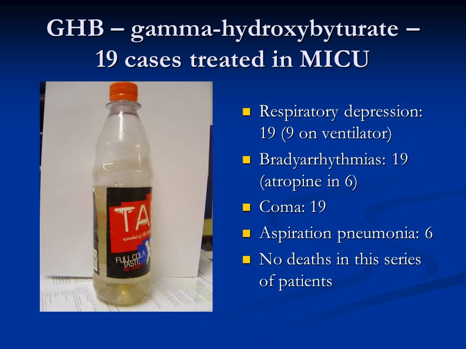 GHB – gamma-hydroxybyturate – 19 cases treated in MICU