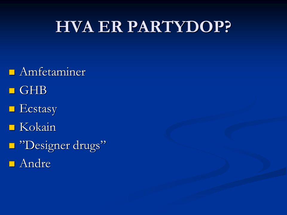HVA ER PARTYDOP Amfetaminer GHB Ecstasy Kokain Designer drugs Andre