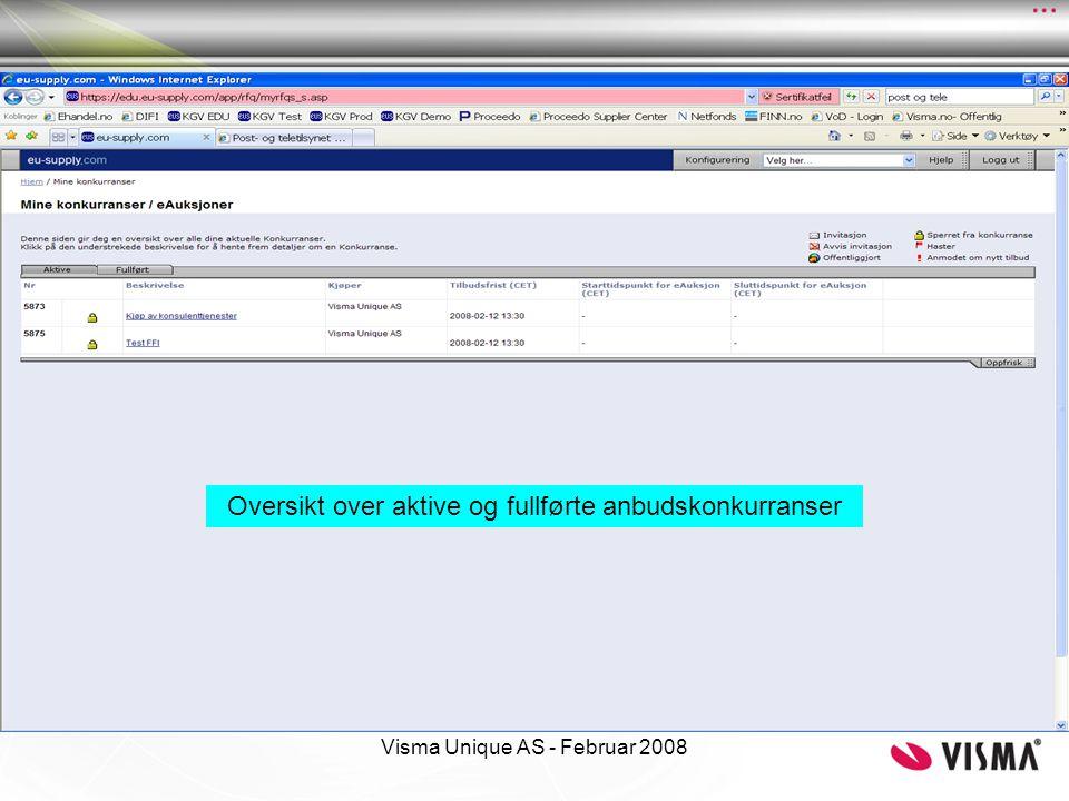 Oversikt over aktive og fullførte anbudskonkurranser