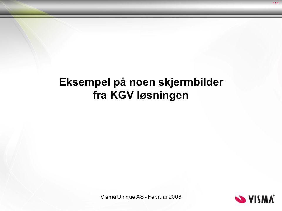 Eksempel på noen skjermbilder fra KGV løsningen