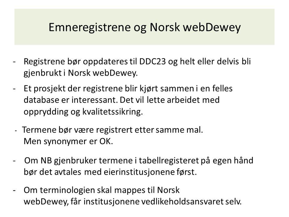 Emneregistrene og Norsk webDewey