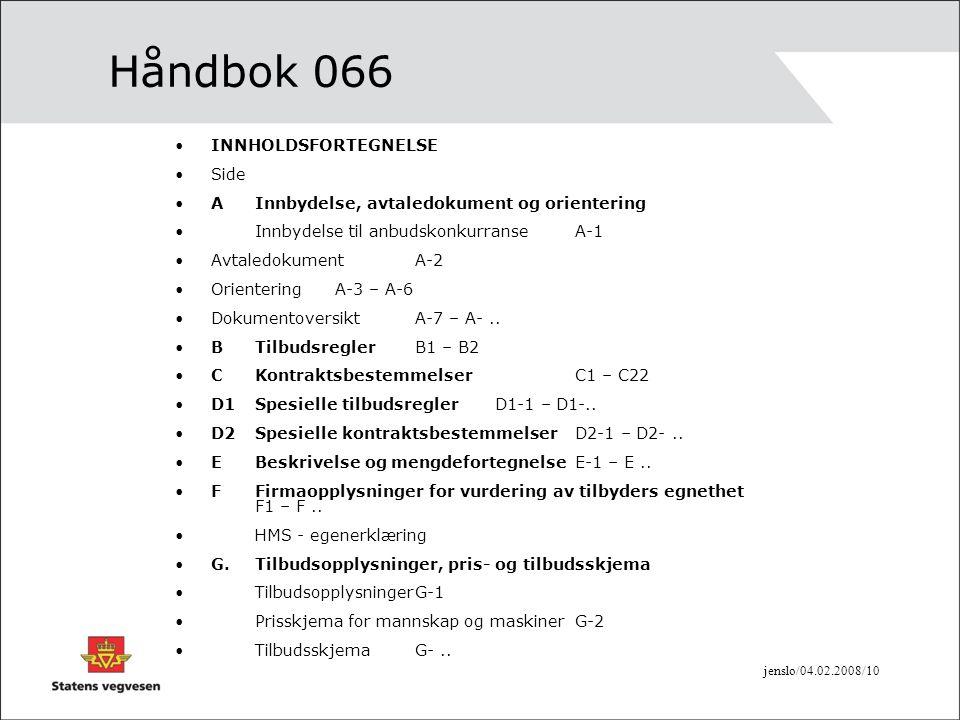 Håndbok 066 INNHOLDSFORTEGNELSE Side