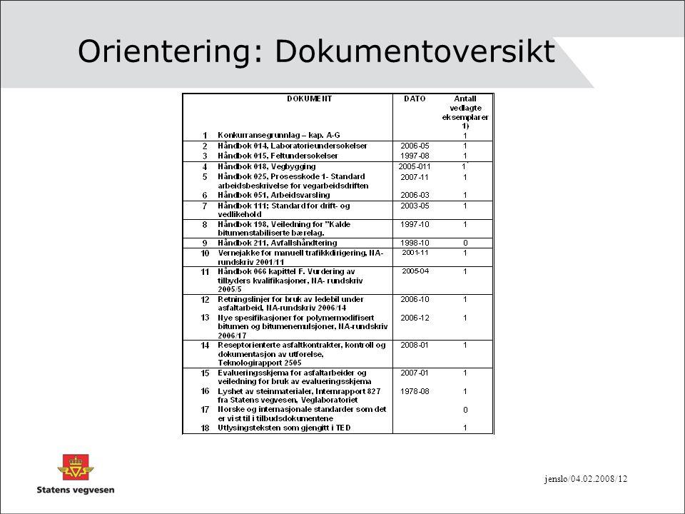 Orientering: Dokumentoversikt