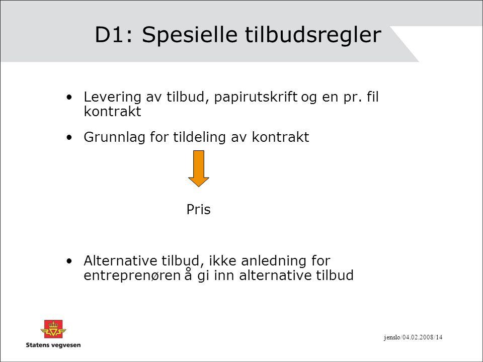 D1: Spesielle tilbudsregler