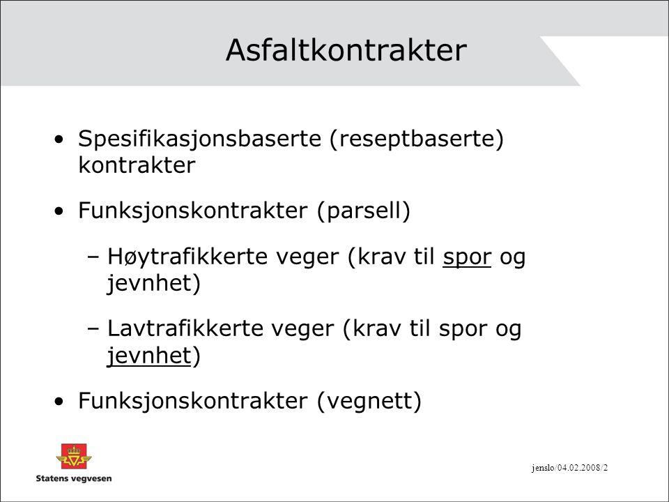 Asfaltkontrakter Spesifikasjonsbaserte (reseptbaserte) kontrakter