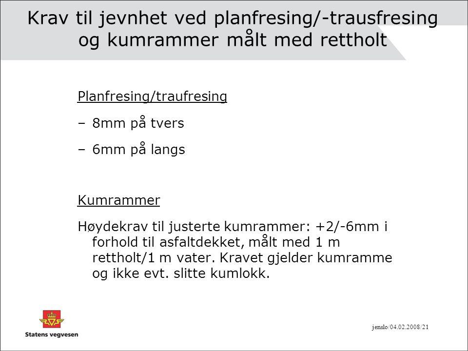 Krav til jevnhet ved planfresing/-trausfresing og kumrammer målt med rettholt